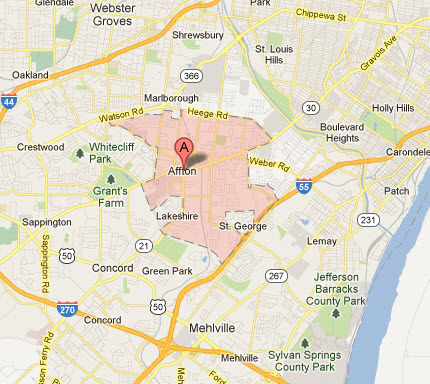 Affton Mo Appliance Repairs Map Service Coverage Areas